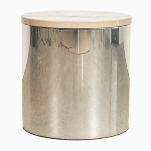 Lackierter Mid-Century Drum Tisch aus Chrom von Paul Mayen für Habitat