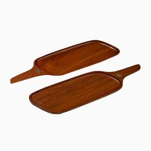 Swedish Wooden Trays by Johnny Mattsson, 1950s, Set of 2