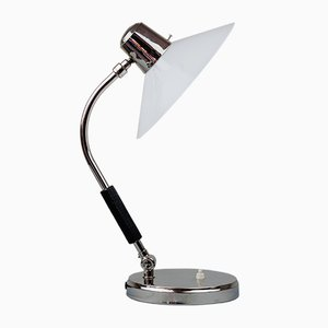 Nickel & Glass Swivel Table Lamp, 1920s