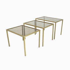 Italian Brass & Glass Nesting Tables, 1970s