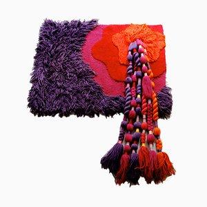 Arazzo in lana trapuntata a mano di Ewald Kröner per Schloss Hackhausen, anni '70