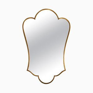 Italian Brass Shield-Shaped Mirror, 1950s