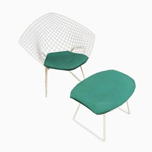 Sedia Diamond con poggiapiedi di Harry Bertoia per Knoll International, anni '70