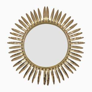 Spiegel mit Rahmen aus Messing in Sonnen-Optik von Deknudt, 1950er
