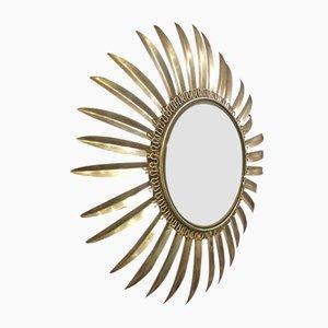 Espejo vintage en forma de sol de latón de Deknudt, años 50