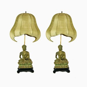 Cast Iron Buddha Lamps with Pagoda Shades, 1970s, Set of 2
