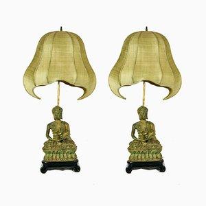 Lámparas en forma de buda de hierro fundido con pantallas Pagoda, años 70. Juego de 2