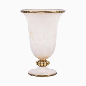 Art Deco Brass and Alabaster Urn Uplighter