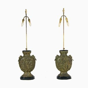 Large Brutalist Cast Iron Guan Yu Figurine Desk Lamps, 1950s, Set of 2