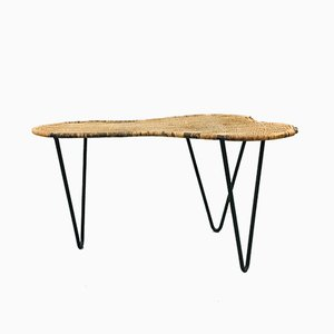 Rognon Rattan and Black Metal Coffee Table by Raoul Guys, 1950s