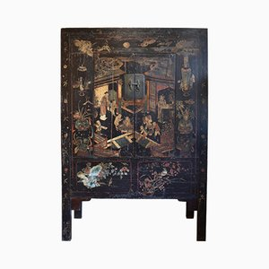 18th Century Chinese Black Lacquer Cabinet