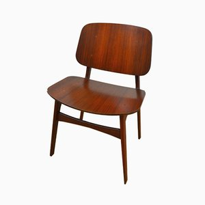 No. 155 Teak Chairs by Borge Mogensen for Søborg Møbelfabrik, 1950s, Set of 4