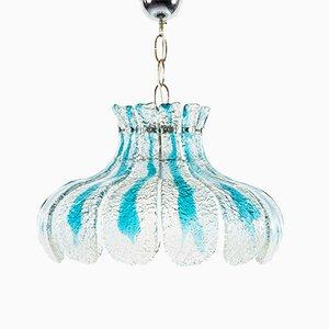 Lampada grande vintage floreale in vetro di Murano di Carlo Nason per Mazzega
