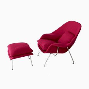 Womb Chair mit Fußhocker von Eero Saarinen für Knoll, 1959