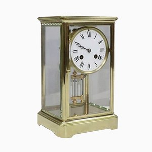 Antique French Brass & Glass Mantel Clock by Japy Freres
