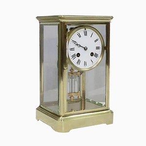 Horloge de Cheminée Antique en Laiton & en Verre par Japy Frères, France