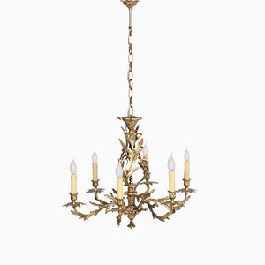 Antique Gilded Bronze 6 Light Chandelier