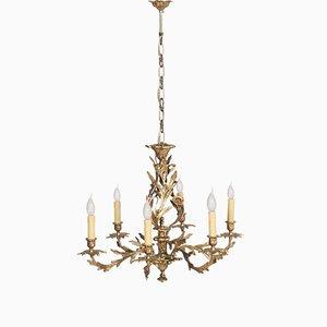 Lampadario a sei luci antico in bronzo dorato