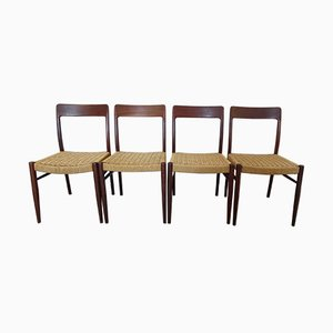 Vintage Scandinavian Cord Chairs by Niels Møller, Set of 4