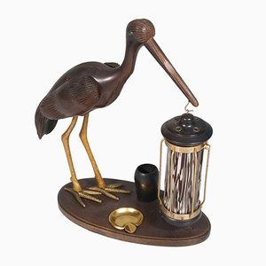 Art Deco Style Heron Table Lamp, Ashtray & Cigarette Service, 1940s