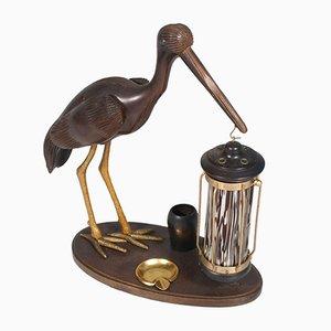Lampada da tavolo in stile Art Déco con airone, posacenere e portasigarette, anni '40