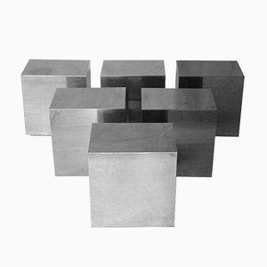 Mesas auxiliares modulares cúbicas cromadas, años 70. Juego de 6