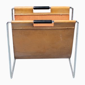 Vintage Leather Magazine Rack from Brabantia, 1960s