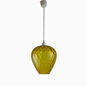 Lampe à Suspension Vintage en Verre Ambré par Paolo Venini