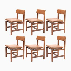Chaises de Salon en Palissandre & en Cuir, 1960s, Set de 6