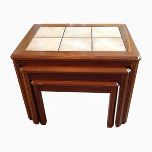 Vintage Danish Wood & Ceramic Tile Nesting Tables