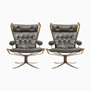 Dänische Sessel aus Leder & Stahl, 1960er, 2er Set
