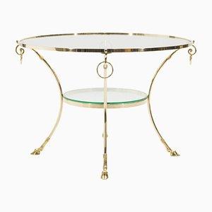 Tavolino da caffè neoclassico in ottone di Maison Charles, anni '70