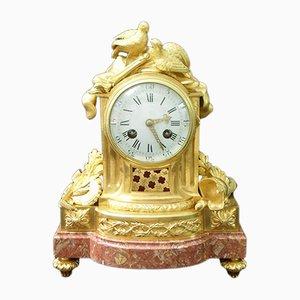 Reloj de repisa francés Napoleon III de bronce dorado de Vincenti, 1860s
