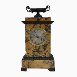 French Neoclassical Siena Marble and Bronze Mantel Clock, 1870s