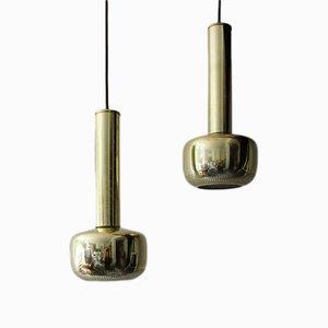 Lámparas colgantes Guldpendel vintage de latón de Vilhelm Lauritzen para Louis Poulsen. Juego de 2