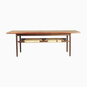 Danish Teak Coffee Table with Cane Shelf, 1960s