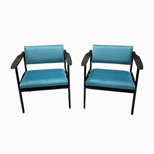 Mid-Century Italian Ebonised Armchairs, Set of 2