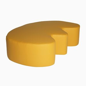 Yellow Leather E Stuffed Bench by Noah Spencer for Fort Makers
