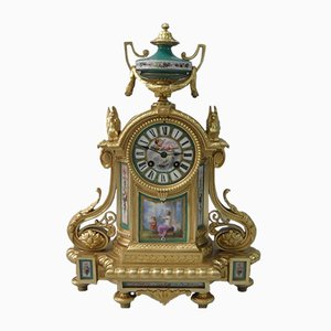 French Napoleon III Bronze Gilt and Porcelain Mantel Clock from Japy Freres, 1860s