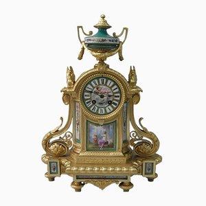 Horloge de Cheminée Napoléon III en Bronze Doré et Porcelaine de Japy Frères, France, 1860s
