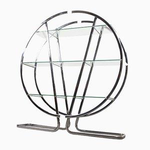 Anaquel vintage circular de metal cromado con estantes de vidrio