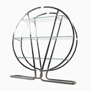 Vintage Circular Chrome Etagere with Glass Display Shelves