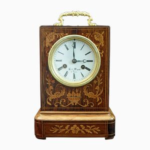 French Napoleon III Rosewood Inlaid Campaign Mantel Clock from Henry Marc, 1860s