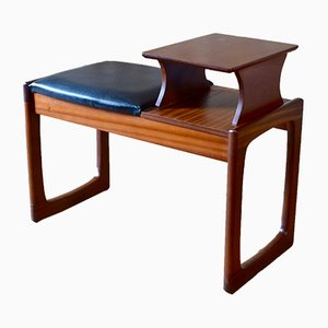 Vintage Teak Telephone Table Bench from Chippy