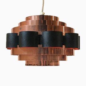 Lampe à Suspension Mid-Century en Cuivre par Werner Schou pour Coronell, 1960s