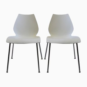Vintage White Maui Chairs by Vico Magistretti for Kartell, Set of 2