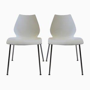Weiße Vintage Maui Stühle von Vico Magistretti für Kartell, 2er Set