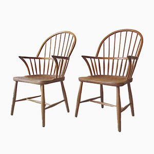 CH-18A Windsor Chairs by Frits Henningsen for Carl Hansen & Son, 1940s, Set of 2