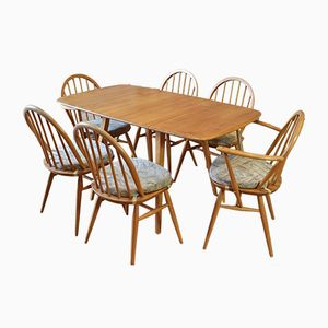 Mid-Century Dining Chairs 887 & Drop Leaf Table by Lucian Ercolani for Ercol