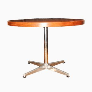 Table de Salon Circulaire Vintage en Teck & en Chrome par Charles & Ray pour Vitra